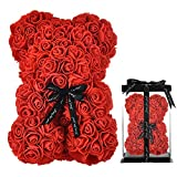 Rose Teddy Bear Fully Assembled Rose Bear - Over 250 Dozen Artificial Flowers - Valentines Day,Gift for Mothers Day, Anniversary & Bridal Showers - 10 inch Clear Gift Box (red)