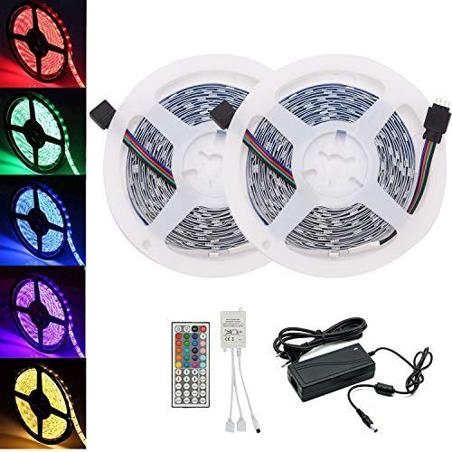 Arotelicht 24V LED Strip 10M LED Band Lichterkette Streifen RGB 5050SMD mit Fernbedienung IR Controller Netzteil, innen indirekte Beleuchtung Hintergrundbeleuchtung