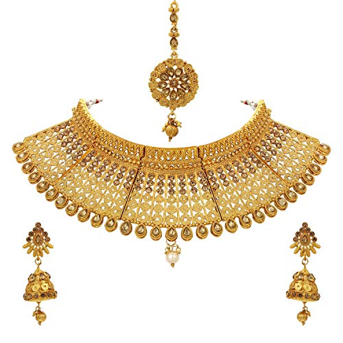 Crunchy Fashion Bollywood Style Traditional Indian Wedding Jewelry Necklace Earring with Maang Tikka Set for Women Girls (Style-4)