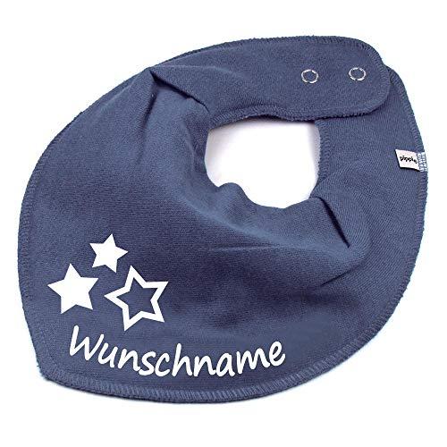 Elefantasie HALSTUCH drei Sterne mit Namen oder Text personalisiert dunkelgrau für Baby oder Kind