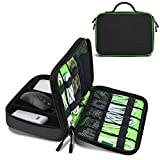 JESWO Electronics Organizer Unversal Cable Organizer Bag, Electronic Accessories Double Layer Travel Cord Storage Bag for SD Cards, Hard Drive, Power Bank, iPad Mini (Up to 7.9'') - Black