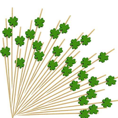 JIUMN Shamrock Cocktail Picks 100 Counts 47 Inch Green Clover Bamboo Toothpicks Cocktail Sticks Green Party Supplies St Patrick#039s Day Decorations