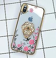 iPhone XR ケース リング付き 6.1イン対応チソフトカバー iPhone Xr ケース おしゃれ Finger Ring Bumper Case for iPhone Xr落下防止 キラキラ デコ アイフォンXr ケース スタンド機能 ゴールド フラワーリング RKS082C