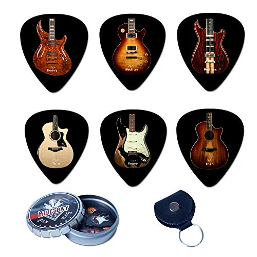 BluesBay Premium Celluloid Guitar Picks-12 Pack Includes Thin, Medium & Heavy Gauges-For Electric,Acoustic,Bass Guitar-Bundle W/Free Metal Box+ Leather Key Chain Pick Holder (Famous Guitar Collection)