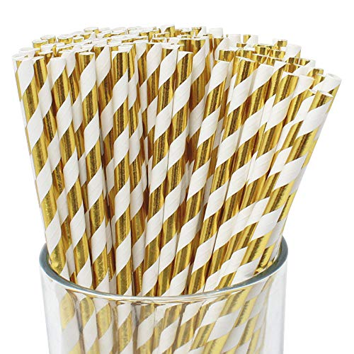 Metallic Gold Paper Straws (100 ct)