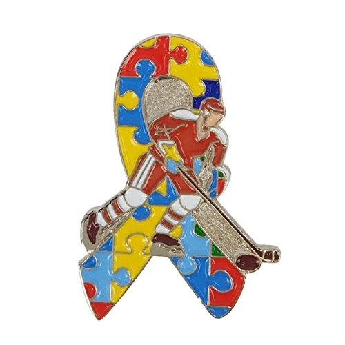 GuDeKe Awareness Ribbon Eishockeyspieler【Autismus:Regenbogen, Puzzle Ribbon】 Brosche Anstecknadel Abzeichen