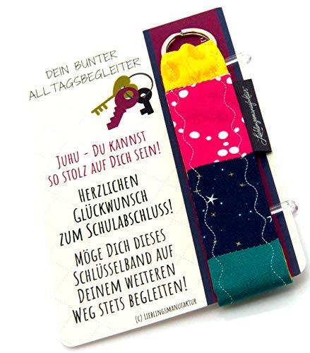 Lieblingsmanufaktur Farbenfroher Schlüsselanhänger Geschenk zum bestandenen SCHULABSCHLUSS - individuelle Geschenkidee zum Mitfreuen nach der geschafften Abschluss-Prüfung. Entdecke die bunte Welt!