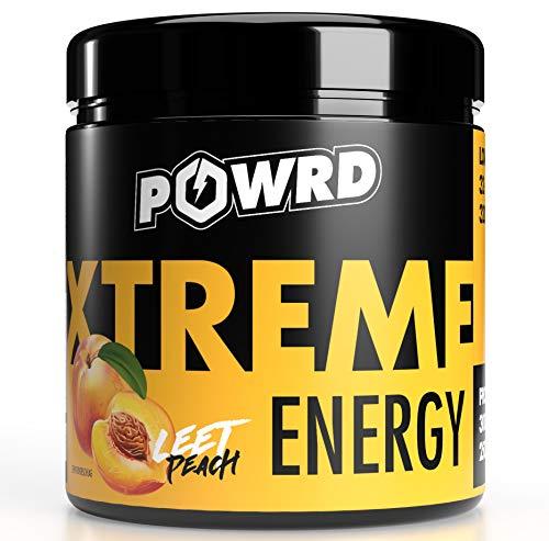 POWRD® XTREME ENERGY Leet Peach - 320g 32 Portionen – Eistee Pfirsich - Gaming Energy & Pre Workout Booster Drink Pulver - für mehr Konzentration beim Gaming, Training, Lernen oder Arbeiten