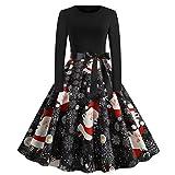IHEHUA Vestido de moda vintage de manga larga de Navidad impreso cuello redondo de los años 50 ama de casa de noche vestidos de fiesta de baile, Negro, S