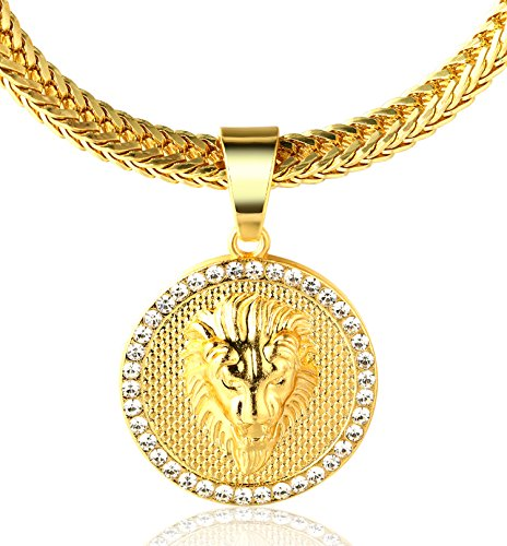 Halukakah  Kings Landing  Hombres 18K Oro Verdadero Plateado León Colgante Collar,con Cadena Cola de Tiburón Gratis 30'