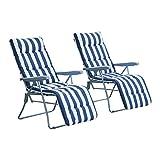 Outsunny 2 x Klappstühle Gartenstuhl Sonnenliege Armlehne klappbar 5 Positionen Auflage Blau 60 x 75 x 104 cm