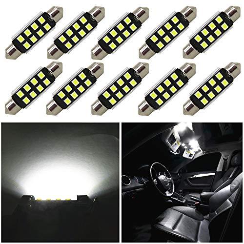 WLJH 10pcs White 39mm LED Canbus Bulbs C5W DE3021 DE3175 7065 6428 LED...
