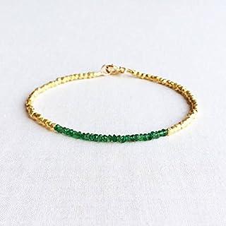 Pulsera de esmeralda con cuentas de plata de ley chapada en oro de 24 quilates con relleno de esmeralda, pulsera chapada e...