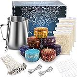 TEPENAR Set para hacer velas para adultos y niños, 50 mechas de cera de soja, 8 pegatinas, mechas de velas, manualidades y artículos para principiantes