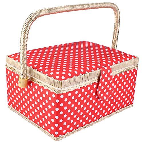 Cesta de costura vintage con asa, caja de costura grande hecha a mano, organizador y almacenamiento de costura portátil, con almacenamiento de doble capa, características integradas, rojo cereza