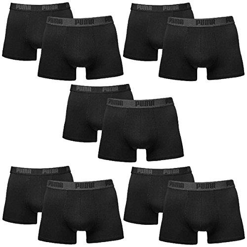 PUMA Herren Basic Boxer Boxershort Unterhose 10er Pack (XL, Schwarz)