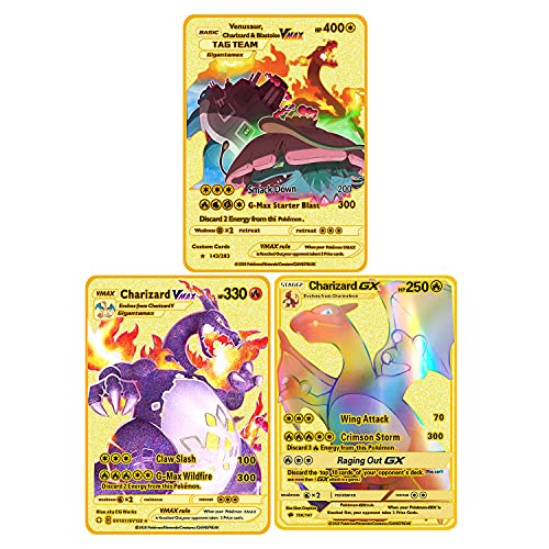 3PCS Ultra Rare Pokemon Metal Gold …