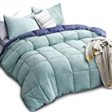 color alternative down comforter - KASENTEX All Season Down Alternative Quilted Comforter Set with Sham(s) -Reversible Ultra Soft Duvet Insert Hypoallergenic Machine Washable, Queen, Turquoise Sea Green/Twilight Blue