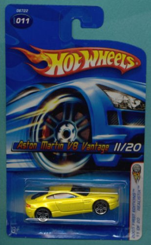 Hot Wheels 2005 First Editions 1:64 Scale Yellow Aston Martin V8 Vantage Die Cast Collectible Car #011