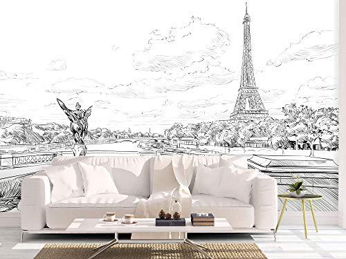 Oedim Fotomural Vinilo para Pared Trazos Torre Eiffel Blanco y Negro | Mural | Fotomural Vinilo Decorativo | 200 x 150 cm | Decoración comedores, Salones, Habitaciones