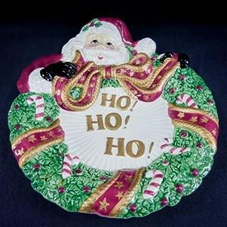 Fitz & Floyd Essentials Santa with Wreath Christmas Serving Dish