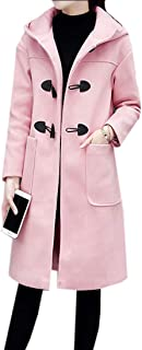 maweisong 女性暖かいロングフードジャケットジャケットロングホーンバックルアウターウェア