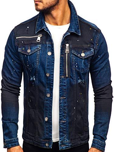 BOLF Herren Übergangsjacke Jeansjacke Sportjacke Freizeitjacke Reißverschluss Street Style UNIPLAY 5015 Dunkelblau S [4D4]