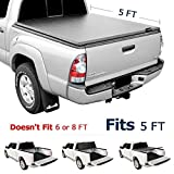 Leader Accessories Tri-Fold 5ft Soft UV Protect Tonneau Truck Bed Cover Compatible with 2016 - Now TOYOTA Tacoma Styleside Bed