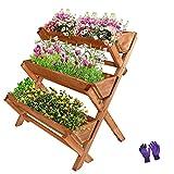 LZRS 35x22x36 inches 3-Tiers Wooden Raised Garden Bed, Fir Wood Flower Rack Vertical Flower Pot Stands for Patio, Balcony, Freestanding Indoor Outdoor