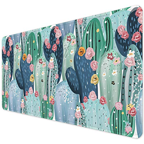 """ITNRSIIET Desk Pad, Mouse Pad,Office Desk Mat with Stitched Edges Non-Slip Waterproof, Easy Clean Desk Table Protector, Laptop Desk Writing Mat 35.4"""" x 15.7"""", Cactus Flower"""