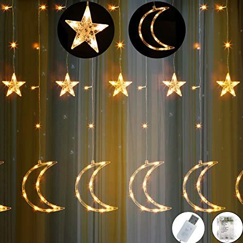 Preisvergleich Produktbild Outgeek Lichterkette,  Elegant Star Moon Design wasserdichte LED Fee Licht Vorhang Licht Party Lichter für Party Hochzeit Raumdekor