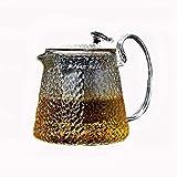 tè in Vetro con infusore, tè Trasparente in Vetro Resistente al Calore con Tazza Piccola con Manico e Coperchio e Filtro in Acciaio Inossidabile Piano Cottura Sicuro Piccolo 500 ml / 17,5 Once, Medio