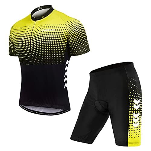 TOMSHOO Ropa de Ciclismo MTB, Maillot Ciclismo Hombre Verano, Jersey Ciclismo Hombre y 4D Gel Acolchado, Transpirable Secado Rápido para Verano