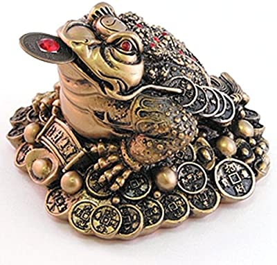 Giftman Lucky Brown Resin Money Toad/Frog with The Coin Feng Shui Figurine 27713