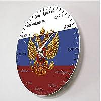 ロシアの国章双頭の鷲愛国心が強い現代の壁時計ロシア語番号Sクォーツウォールウォッチ-No_Frame
