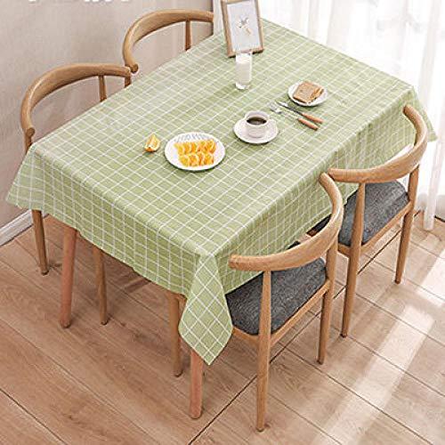 Traann plastic tafelkleden schoon te vegen, veeg schoon tafelkleed Vinyl PEVA Nordic plaid Twee stukken groen 137*180CM