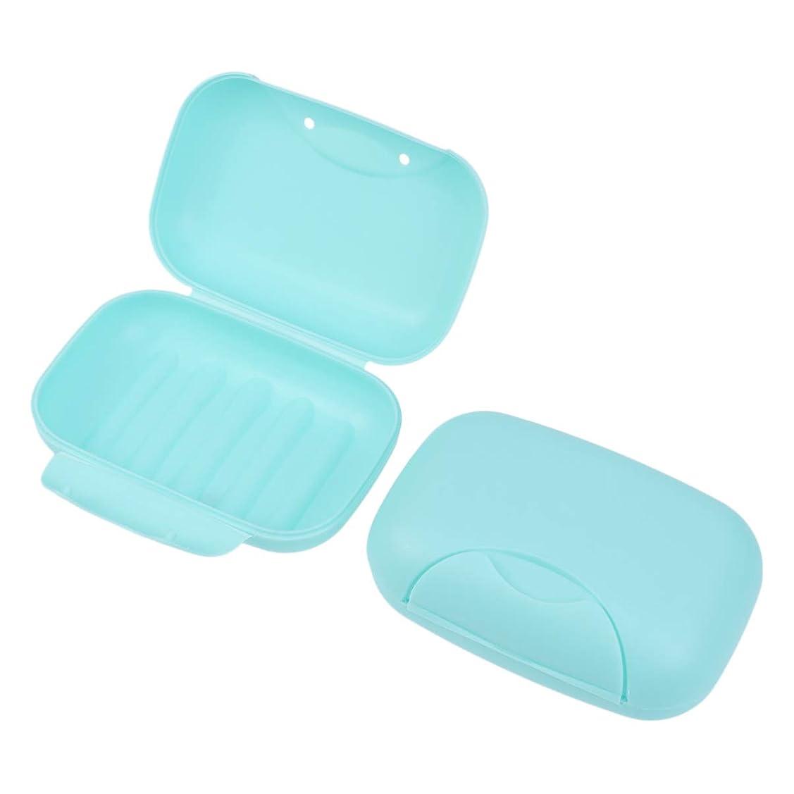 反発する決定出発するHealifty 旅行用ソープボックス防水石鹸皿ソープホルダー2個(青)
