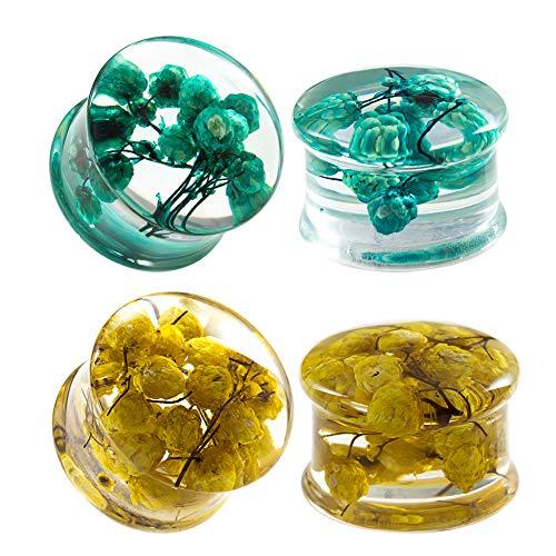 COOEAR 2 pares de dilatadores de oreja, dilatadores de doble acampanado, diseño de flores acrílicas con logotipo de flores elegantes., plástico,