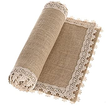 Ling s moment Burlap Table Runners 12 x 60 Inches with Lace Hem Rustic Country Barn Wedding Party Decoration Farmhouse Decor