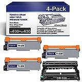 Compatible(1-BK) DR630 Drum Unit & (3-BK) TN630 Toner Cartridge ReplacementforBrother HL-L2300D L2305W MFC-L2680W L2685DW DCP-L2520DW L2540DW Printers.