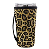 Neoprene Insulated Sleeves Cup Cover Holder Idea for 20oz Tumbler Cup, 20oz YETI Rambler Ozark Trail Rtic, Starbucks Venti Cold (Only Cup sleeves) (Leopard)