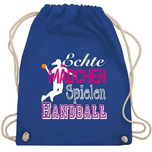 Shirtracer Handball - Echte Mädchen Spielen Handball weiß - Unisize - Royalblau - handball größe 1 - WM110 - Turnbeutel und Stoffbeutel aus Baumwolle