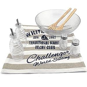 Makeke Box Salat-Set (8 tlg.) – Salatschüssel aus Glas (30cm), Salz- & Pfefferstreuer, Öl- & Essigkännchen, Salatbesteck aus Holz, Baumwoll-Tischläufer (Tischläufer in Braun)