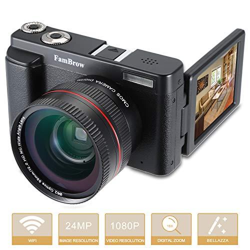 Macchina Fotografica Digitale WiFi,Fotocamera Digitale Full HD FamBrow Videocamera Compatta 16x Zoom Digitale 1080P 24MP con Obiettivo Grandangolare