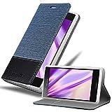 Cadorabo Hülle für Sony Xperia XZ1 COMPACT in DUNKEL BLAU SCHWARZ - Handyhülle mit Magnetverschluss, Standfunktion & Kartenfach - Hülle Cover Schutzhülle Etui Tasche Book Klapp Style