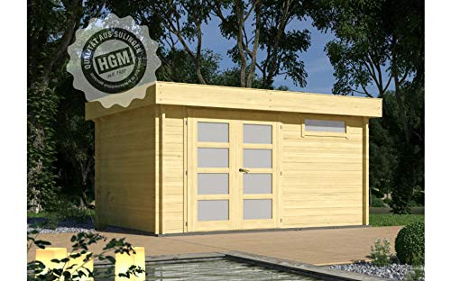 HGM GmbH Gartenhaus München 34D + farbloser Imprägnierung Gartenhaus Holz Holzhaus