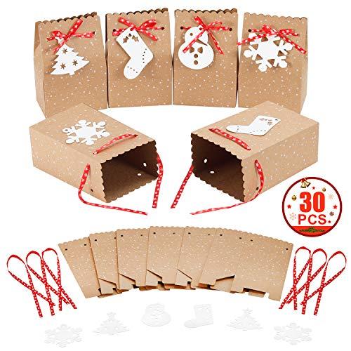"""MonQi 30 Stück Große Kapazität Weihnachten Geschenktüten mit 30 Weihnachtsanhänger und 30 Weihnachtsbänder, Bonbontüten aus Kraftpapier für Weihnachts Geschenk (4.5"""" x 3"""" x 7"""")"""