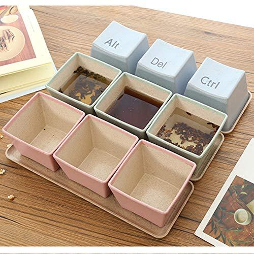 Erjialiu Kaffeetasse 3 Teile/Satz Tastatur tassen mit tablett Becher Tee Kaffee Milch Tasse Container Geschenke,rot