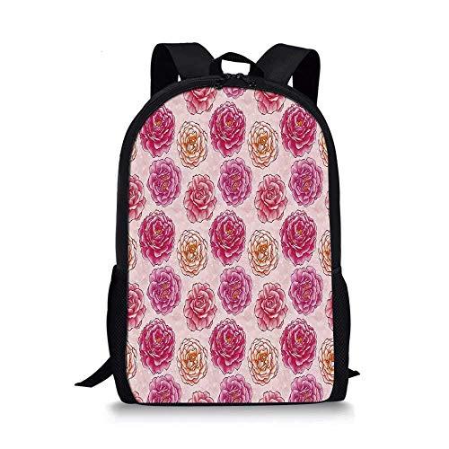 HOJJP ñ mochila escolar von ruedas Animal Decor Stylish School Bag,Bunch of Deep Sea Elements with Screw Shell Crabs Urchin Oyster Coral Ammonit Print for Boys,11
