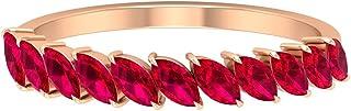 Banda de rubí creada en laboratorio de 1,43 quilates, banda de media eternidad, oro apilable (rubí creado en laboratorio d...